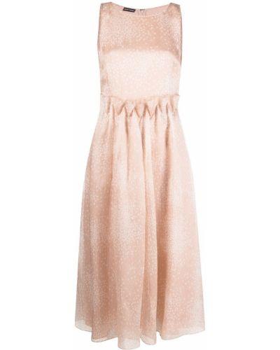 Шелковое розовое платье миди с вышивкой Emporio Armani