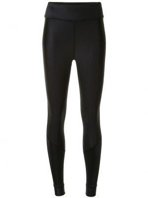 Prążkowane czarne legginsy z nylonu Alala
