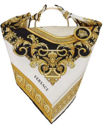 Белый шелковый шарф квадратный Versace