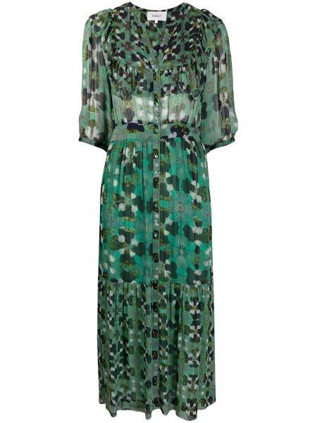 С рукавами зеленое платье с V-образным вырезом из вискозы Ba&sh