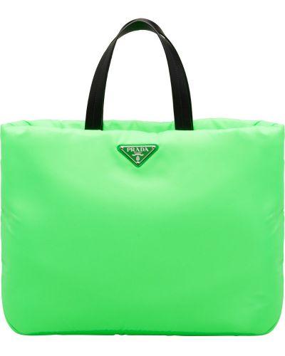 Кожаная сумка сумка-тоут зеленый Prada
