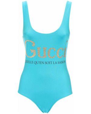 Stroj kąpielowy jednoczęściowy z logo na paskach Gucci
