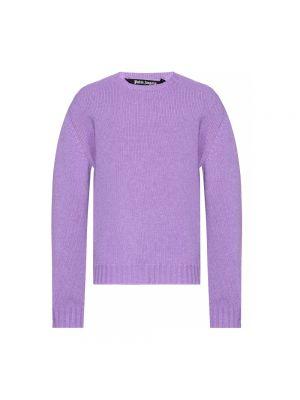 Sweter wełniany - fioletowy Palm Angels