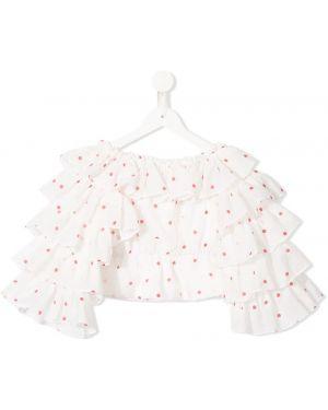 С рукавами хлопковая белая блуза с оборками Little Bambah
