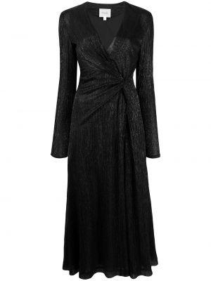 Czarna sukienka długa z długimi rękawami z dekoltem w serek Galvan