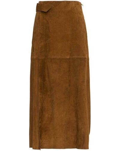 Brązowa spódnica zamszowa Alberta Ferretti