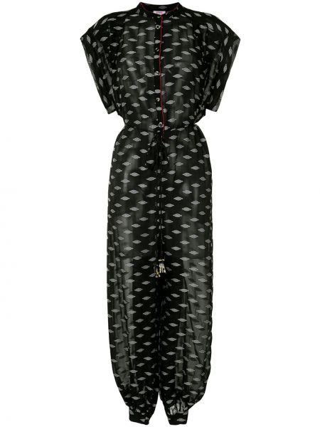 Черный комбинезон с вышивкой на пуговицах с вырезом Eres
