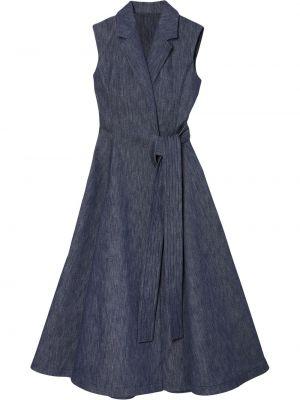 Niebieska sukienka jeansowa rozkloszowana bez rękawów Carolina Herrera