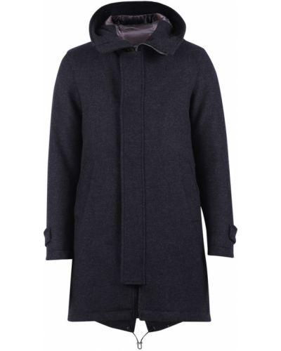 Szary płaszcz z kapturem od płaszcza przeciwdeszczowego Herno