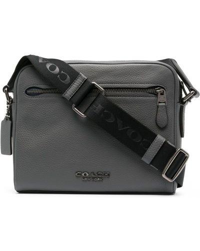Серая кожаная сумка на плечо на молнии Coach