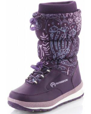 Фиолетовые теплые сапоги на высоком каблуке Outventure