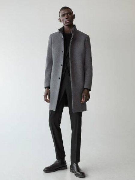 Серое шерстяное длинное пальто с воротником Mango