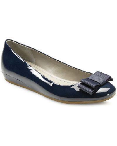 Балетки на каблуке синий Ecco