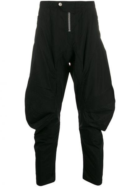 Черные зауженные брюки с карманами на молнии бязевые Unravel Project