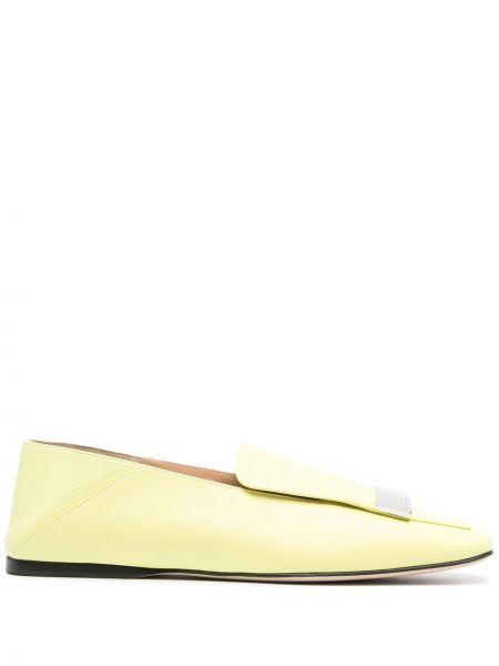 Желтые лоферы квадратные с квадратным носком Sergio Rossi