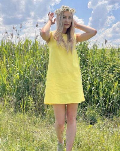 Желтое льняное платье Cat Orange