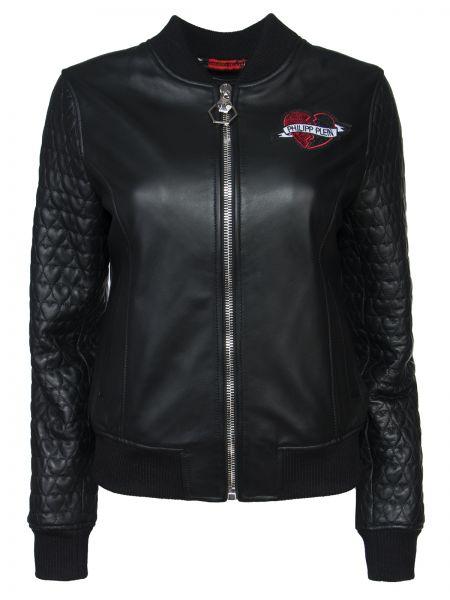 С рукавами черная кожаная куртка на молнии с карманами Philipp Plein