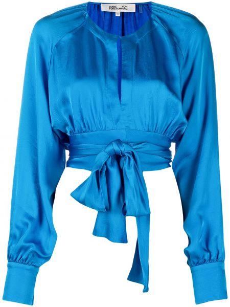 Niebieski z rękawami bluzka z mankietami Dvf Diane Von Furstenberg