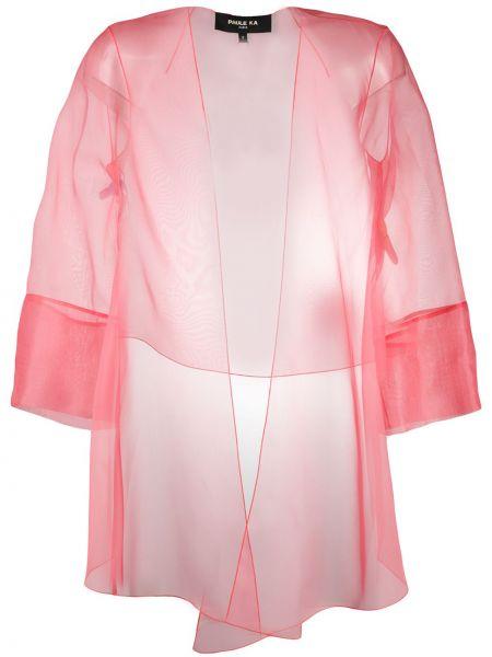 С рукавами шелковый розовый удлиненный пиджак прозрачный Paule Ka