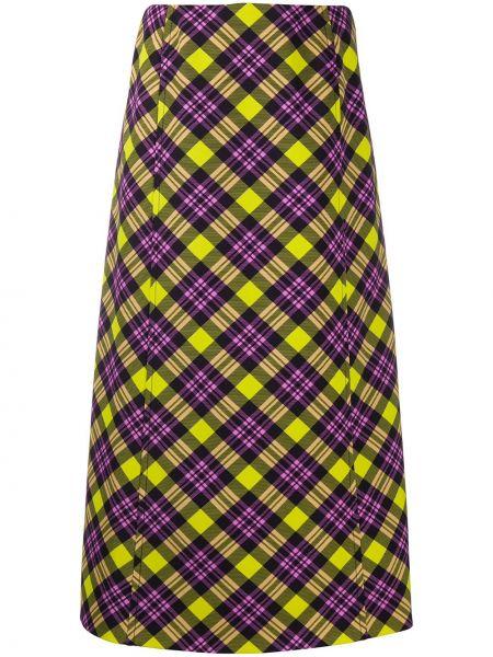 Желтая юбка миди на молнии Prada