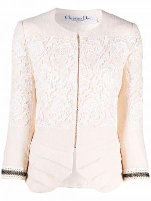 Biała kurtka skórzana Christian Dior