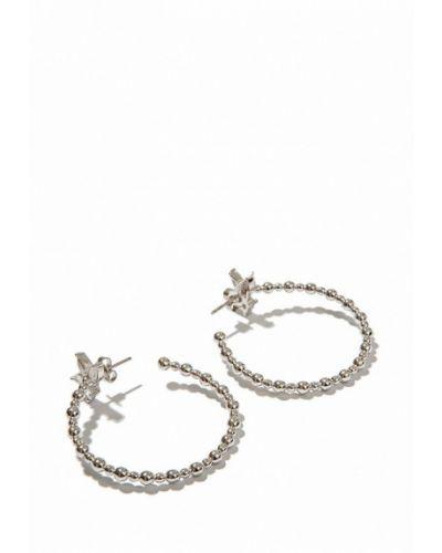 Серьги-кольца серебряного цвета Exclaim