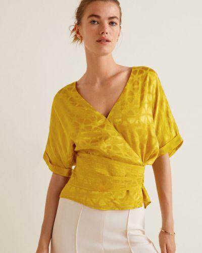 Блузка с поясом с V-образным вырезом с запахом в клетку Mango