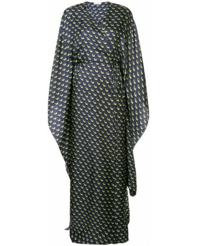 Шелковое платье макси - синее Vionnet