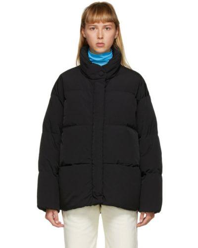 Черная нейлоновая стеганая куртка двусторонняя с манжетами Ienki Ienki