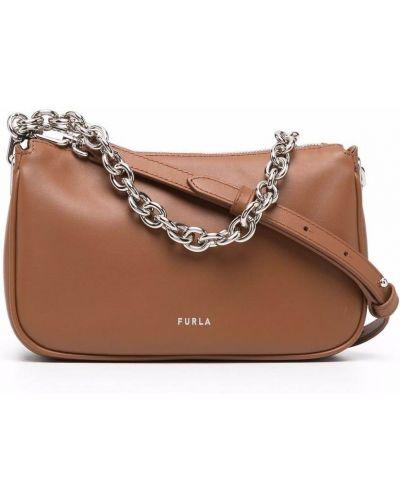 Кожаная сумка через плечо - коричневая Furla