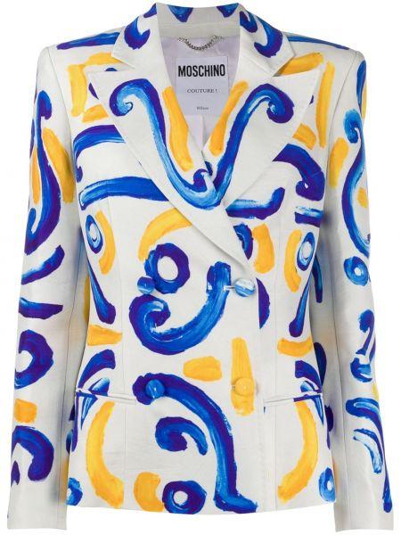 Белый пиджак двубортный на пуговицах Moschino
