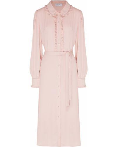 С рукавами розовое платье с оборками ли-лу