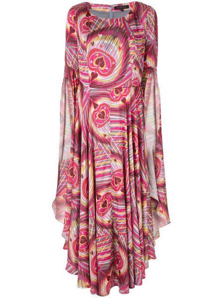 Розовое расклешенное приталенное платье Manish Arora