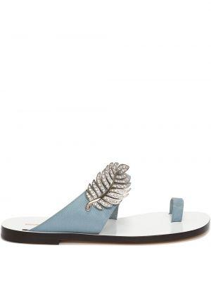 Niebieskie sandały plaskie skorzane Nicholas Kirkwood
