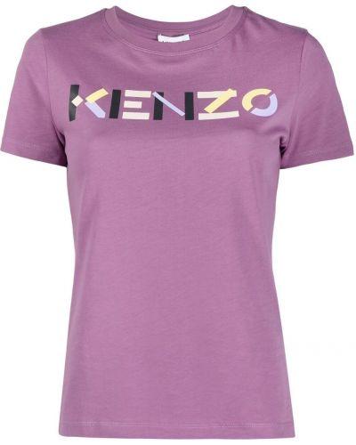 Фиолетовая хлопковая футболка с короткими рукавами Kenzo