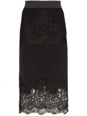 Шелковая черная юбка карандаш с поясом Dolce & Gabbana