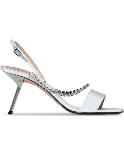 Серебряные сандалии с пряжкой на каблуке Alchimia Di Ballin