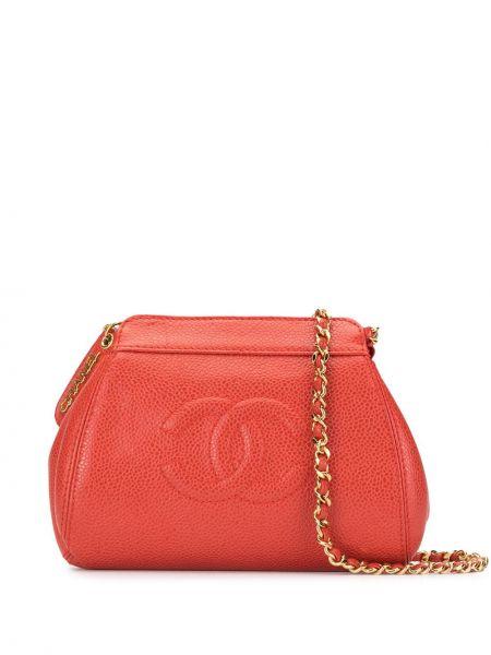 Красная сумка на цепочке металлическая на молнии с карманами Chanel Pre-owned