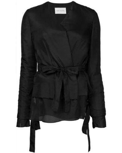 Пиджак с поясом черный Ms Min