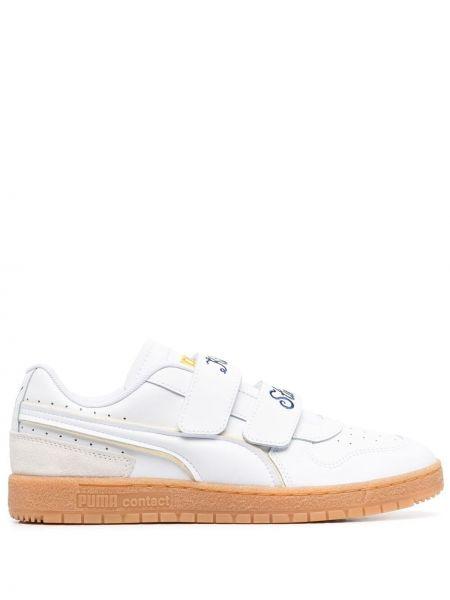 Кожаные белые кроссовки на шнуровке Puma