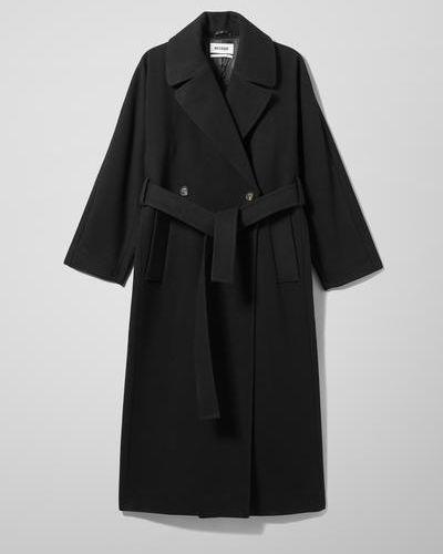Черная куртка двубортная Weekday
