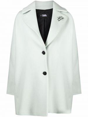 Długi płaszcz wełniany - zielony Karl Lagerfeld