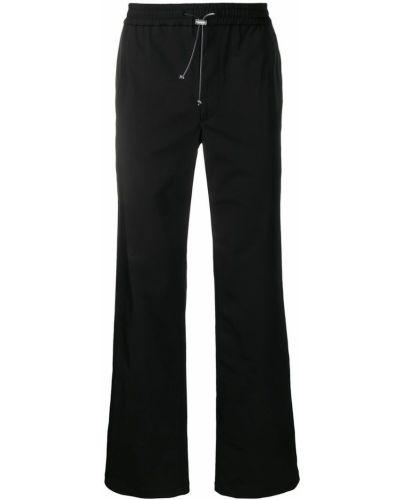 Черные прямые брюки на пуговицах с карманами новогодние Wwwm