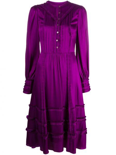 Фиолетовое шелковое платье на пуговицах со складками Temperley London