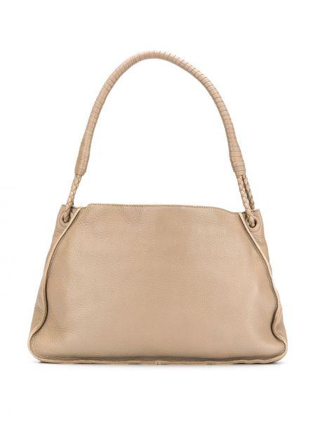 Замшевая коричневая плетеная кожаная сумка на молнии Bottega Veneta Pre-owned