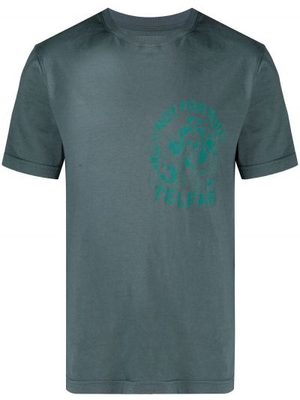 Zielony t-shirt bawełniany krótki rękaw Telfar