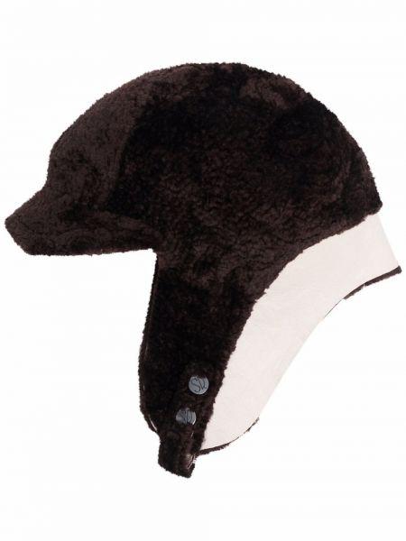 Brązowa czapka skórzana Simonetta Ravizza