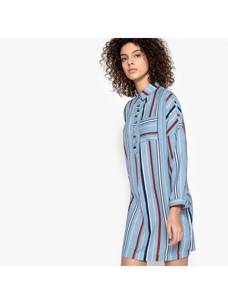 Платье мини рубашка в полоску с длинными рукавами Suncoo