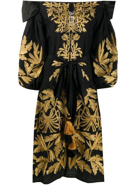 Шелковое черное платье с вышивкой свободного кроя Yuliya Magdych