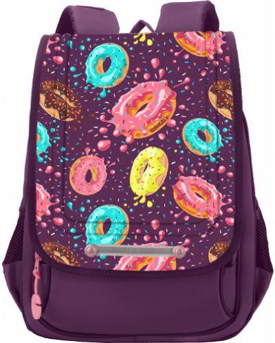 Текстильный фиолетовый школьный ранец Grizzly